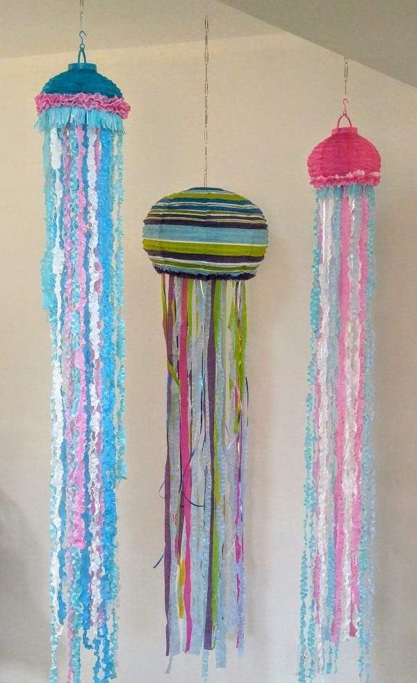 Three colorful paper lantern jellyfish at Sea Party