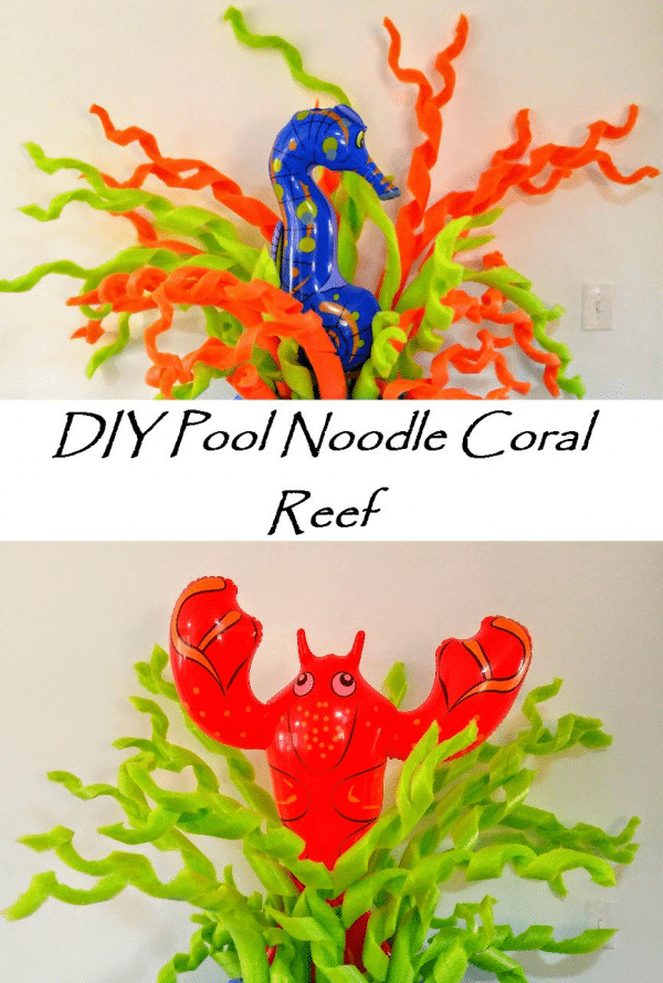Two examples of pool noodle coral reefs at sea party.