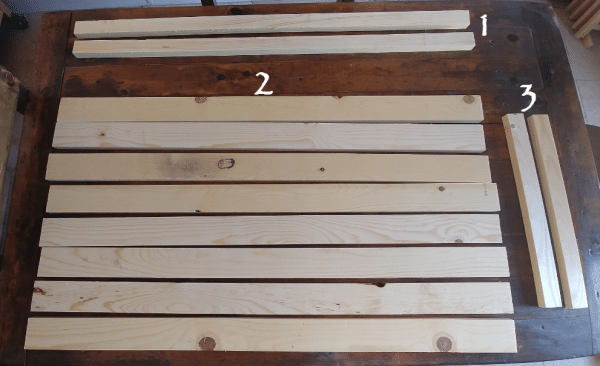 Lumber cut to size for DIY Light-Up Pallet Flag.