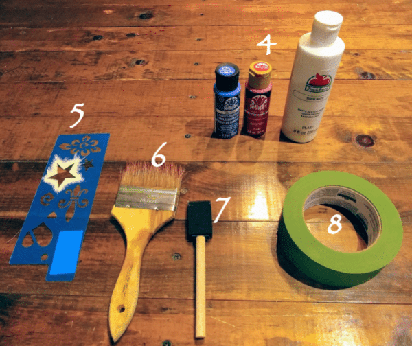 Acrylic paint, stencil, brushes and tape supplies for DIY Light-Up Pallet Flag
