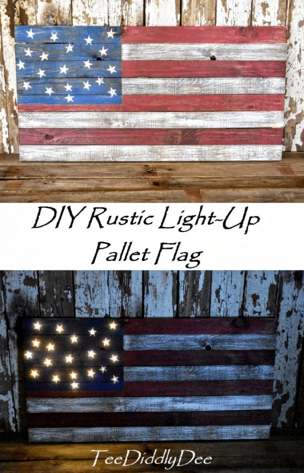 DIY Light-Up Pallet Flag lit up and in daylight.