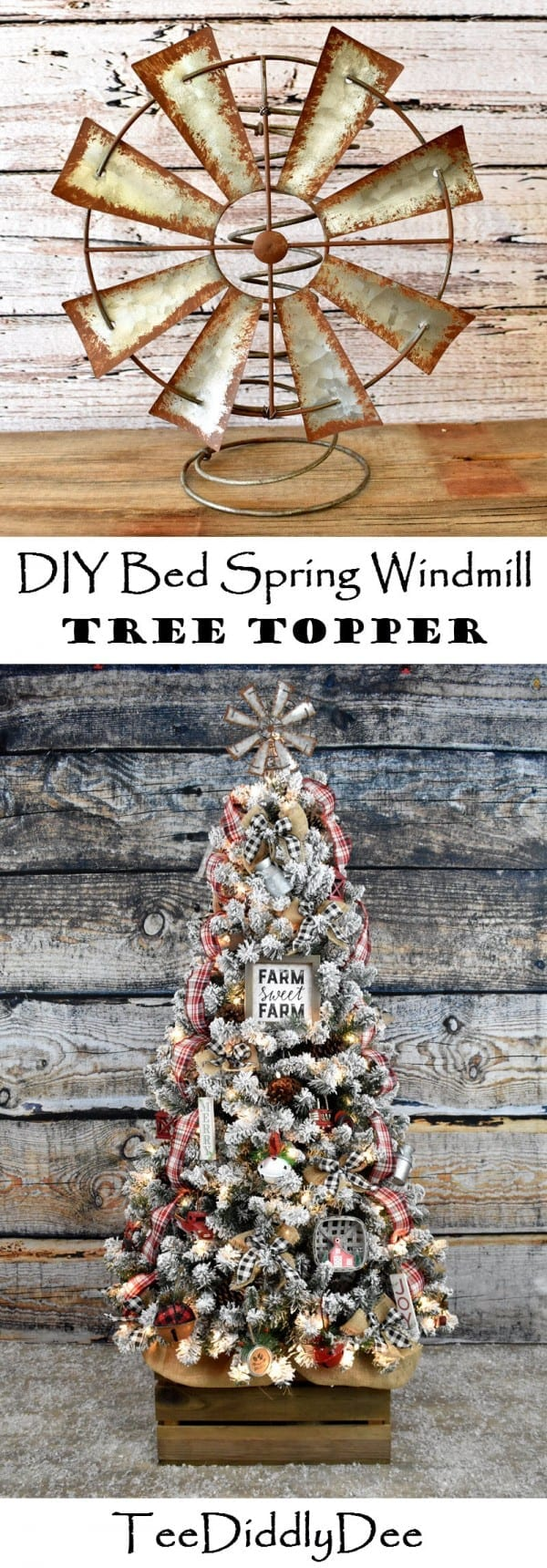 Diy Bed Spring Windmill Christmas Tree Topper Vintage Rustic Farmhouse