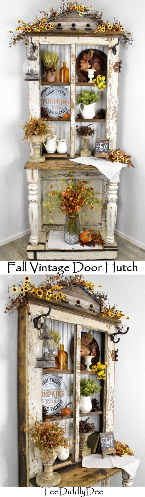 Fall Vintage Door Hutch Antique Repurposed Hall Tree Decor Hall Tree