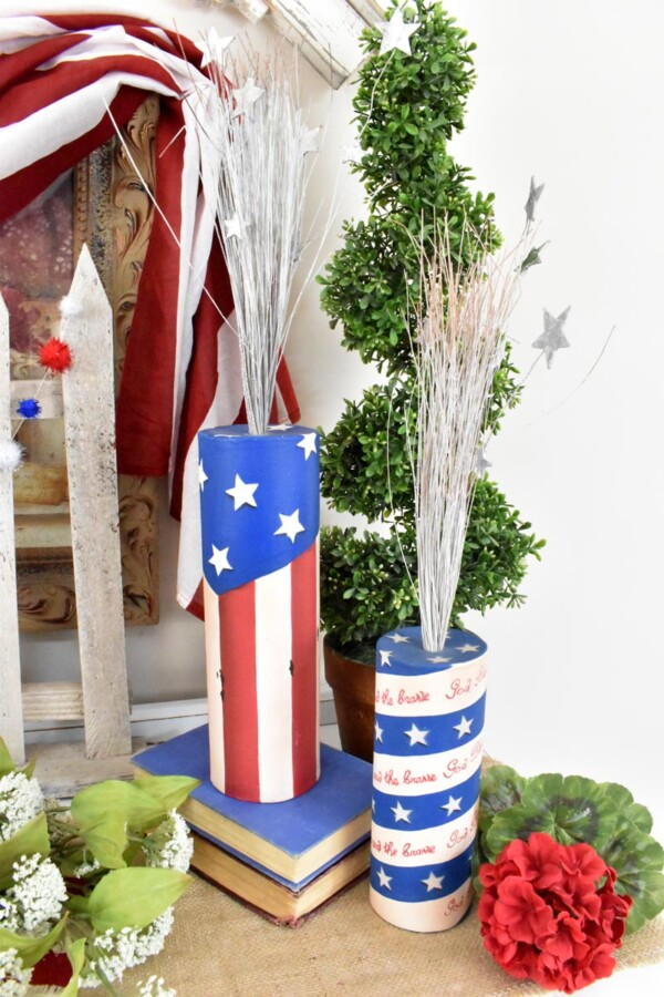 Close up of two large firecrackers add patriotic feel.