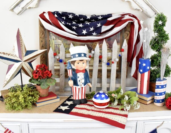 This is a DIY showing Sammy's Star Spangled Banner vignette with American decor.