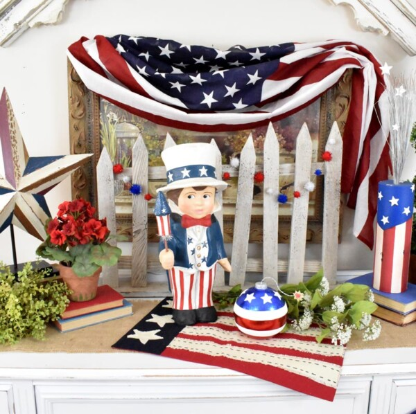 Cropped pic of Sammy showing Americana Décor. Sammys Star Spangled Banner Vignette