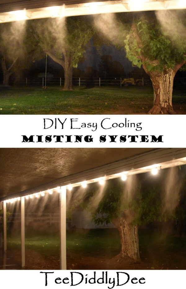 Double image of misting system spraying at night, lit up by lights.